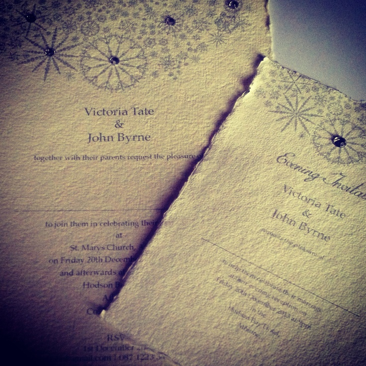Handmade Wedding Invitation...Winter Sparkle. Handmade Bespoke Wedding Invitation, using cotton paper with diamanté sparkle on a vintage snowflake...