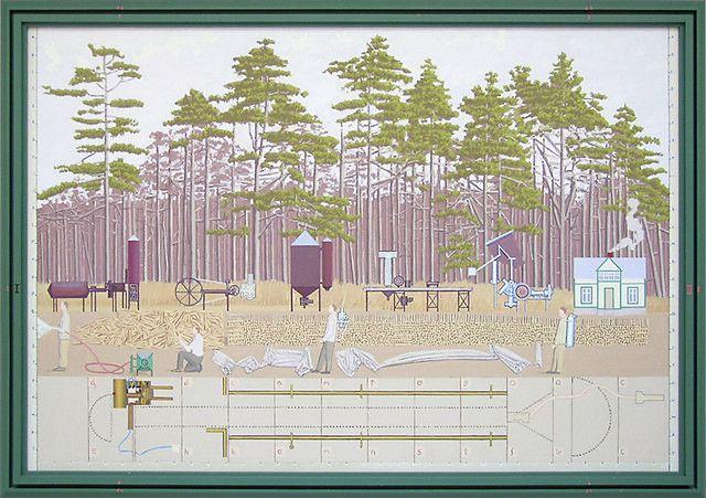 Leonard Rickhard <em>Tidlig morgen ved furuskogen</em><br />olje på lerret, 205,5x292 cm