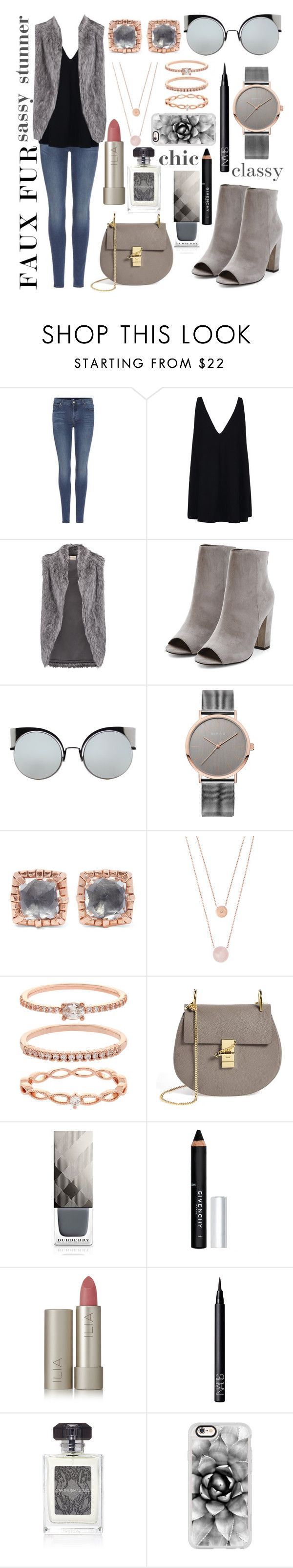 """""""faux fur chic😘"""" by dixiepixiefashionista ❤ liked on Polyvore featuring 7 For All Mankind, STELLA McCARTNEY, DKNY, Fendi, Larkspur & Hawk, Michael Kors, Accessorize, Chloé, Burberry and Givenchy"""