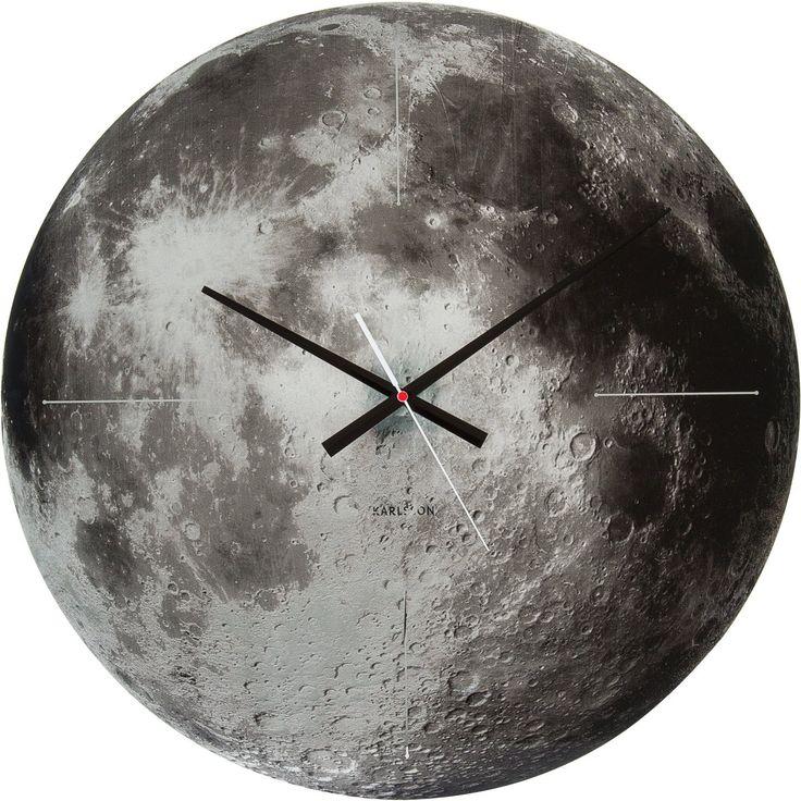 bol.com | Karlsson Moon - Klok - Rond - Glas - Ø60 cm - Grijs | Wonen