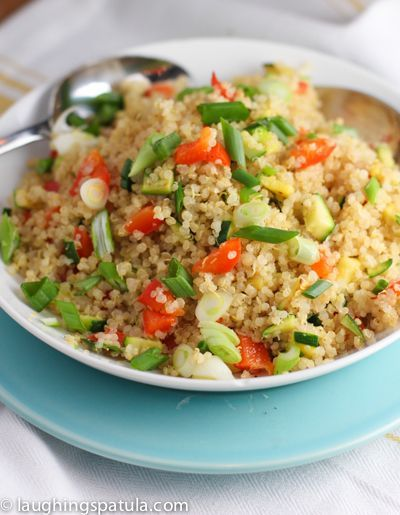 Quinoa Pilaf! - When serving cold - add roasted red peppers, olives, broccoli, sun dried tomatoes and roasted pine nuts?  YUM!!