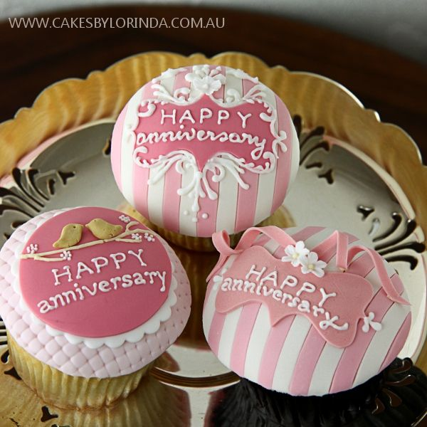 Happy Anniversary Cupcakes, stripes, birds, ornate