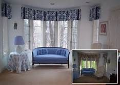 side pleat valance in bay window and side windows and a custom tablecloth three most common bay window treatments