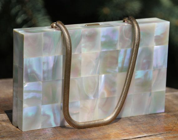 Vintage Clutch / Purse / Handbag with Mother of Pearl Tile Design with Gold Tone Strap and built in Compact and Comb ***LAYAWAY AVAILABLE***