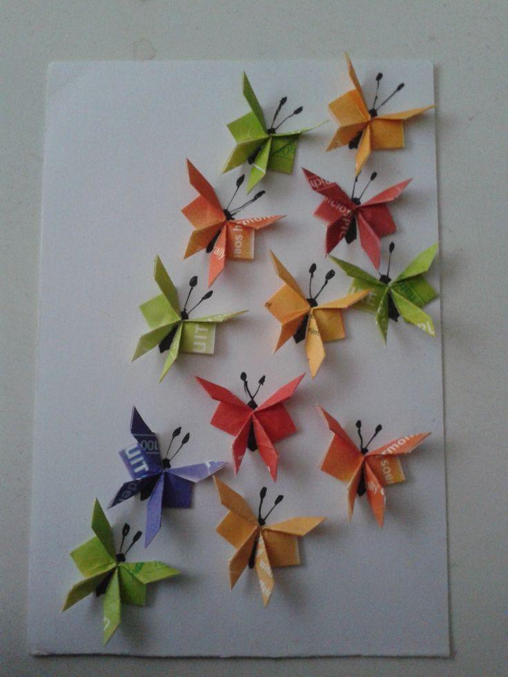 Witte kaart met kleine gekleurde vlindertjes gemaakt; weer een stukje dichterbij het halen van een doel van DZP