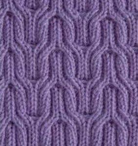 Двухсторонний узор спицами для теплых шарфов
