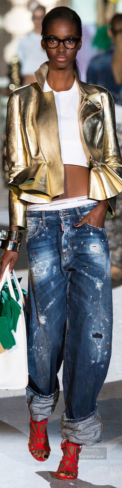 The metallic toned peplum leather jacket is the object of my desire....Dsquared².Spring 2015. - B. A. Snob