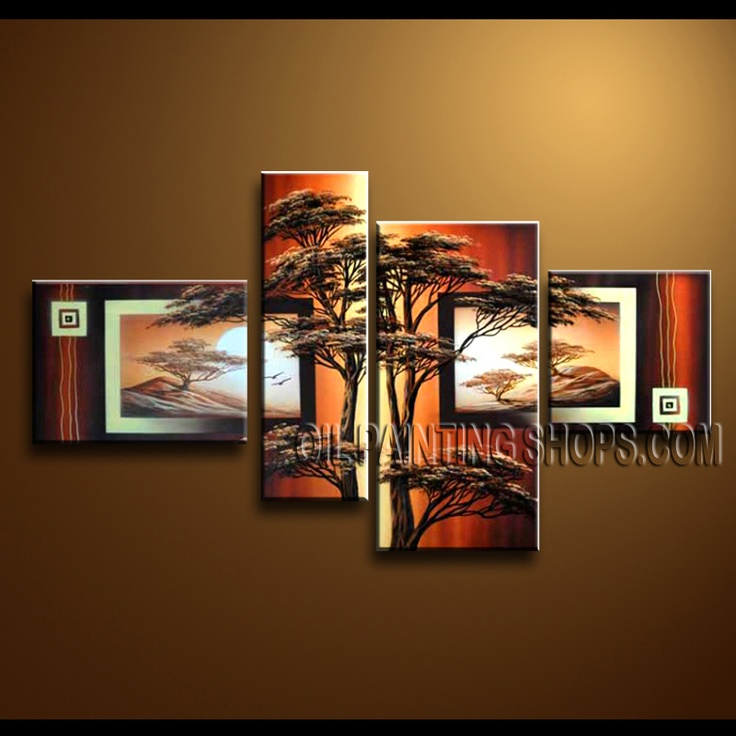 Enchanting Contemporary Wall Art High Quality Oil Painting Gallery Stretched Landscape. This 4 panels canvas wall art is hand painted by Anmi.Z, instock - $145. To see more, visit OilPaintingShops.com