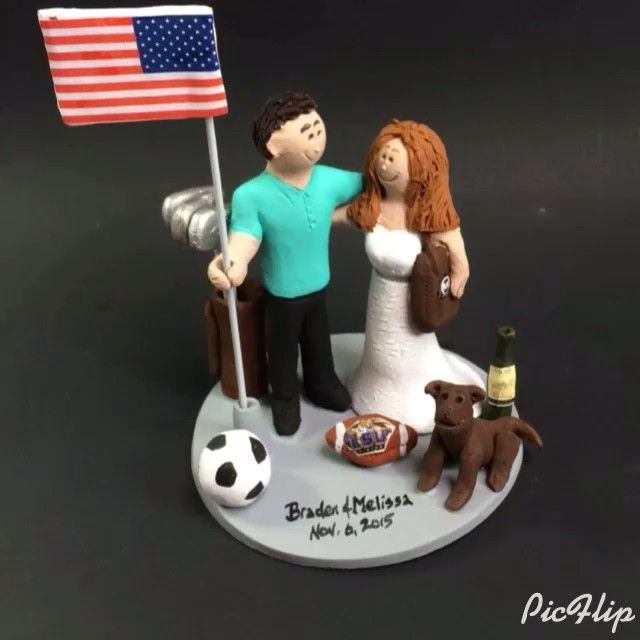 #weddingCakeTopper #weddingcaketoppers #footballbride #soccer #magicmud custom made wedding cake topper