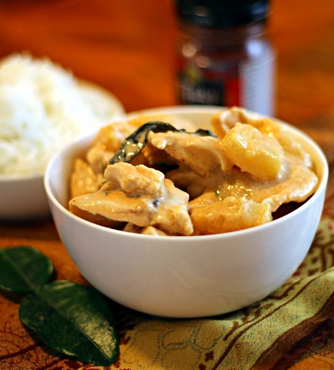 Tropical Thai Chicken Curry recipe | Chicken in a red curry and coconut sauce, with mango, pineapple, and fresh basil.