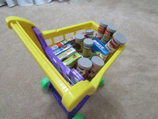 Make toy canned food goods using empty medicine bottles.