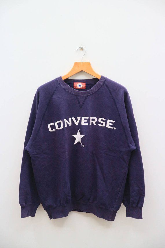 0d6fcb0f9a922 Vintage CONVERSE All Star Big Logo Blue Sweatshirt Sweater Size XXL ...