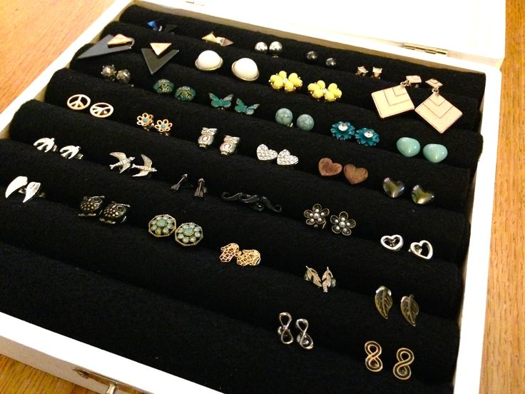 Store your small stud earrings properly with this tutorial for a DIY stud earring jewelry box made with easy-to-find inexpensive items.