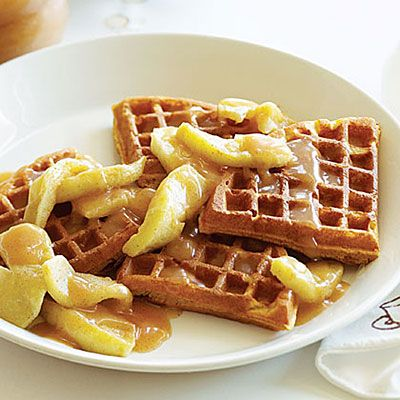 Waffle night!! Pumpkin Waffles with Apples and Apple Cider Syrup