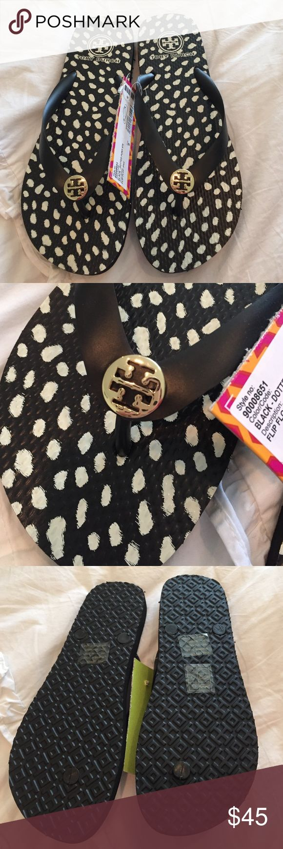 Tory Burch dotted pony flip flops NWT black and white flip flops. No box. Tory Burch Shoes Sandals