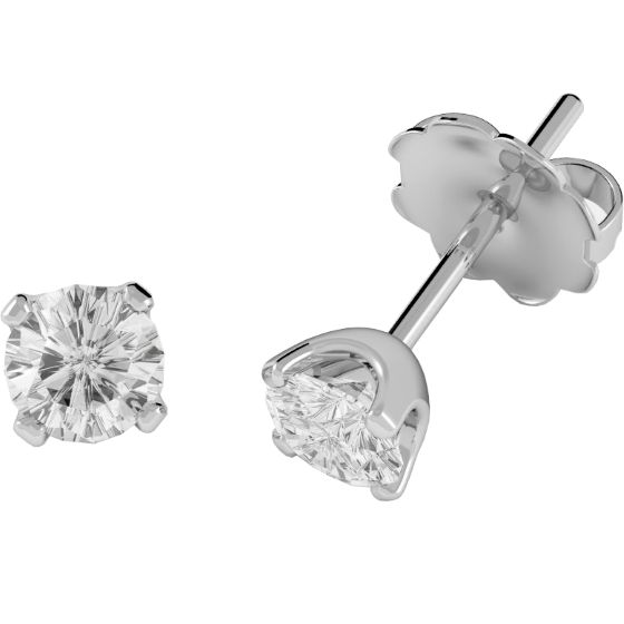 Cercei Tip Stud Aur Alb 9kt cu Diamant Rotund Briliant - RDE003/9W