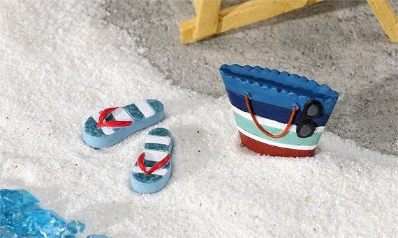 Fairy Garden Beach Bag & Matching Flip Flops, Miniature Beach Scene, Dollhouse Miniatures