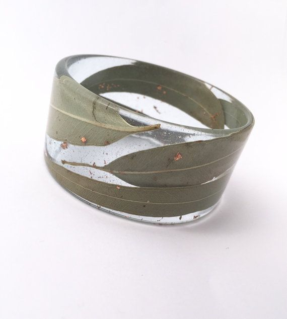 Wide eco-resin bangle with embedded gum leaves and by PipandtheSea