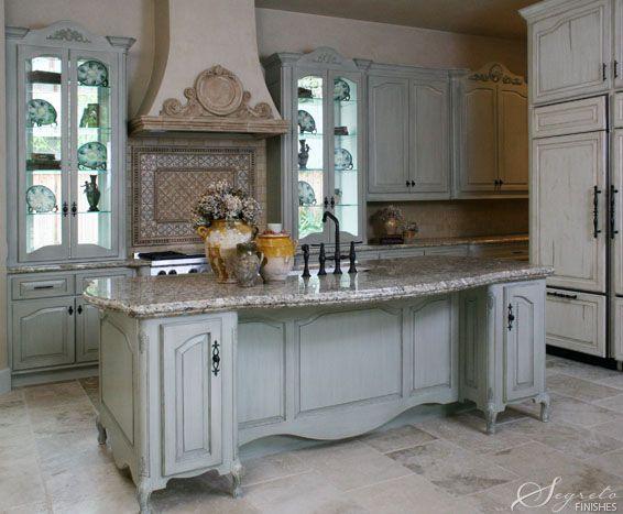 beautiful kitchenBeautiful Kitchens, Decor Ideas, Cabinets Colors, Soft Colors, Pretty Kitchens, Glasses Doors, French Country Kitchens, French Kitchens, Doors Built