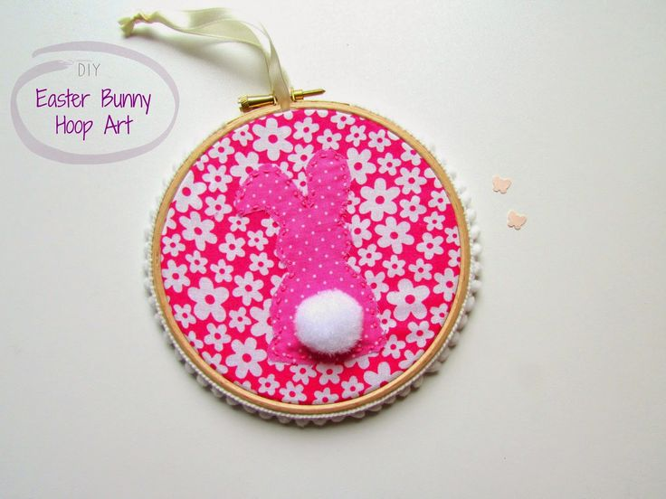 DIY Easter Bunny Hoop Art #Easter #handmade #diy #tutorial #craft #bunny #rabbit #fabric #sew #sewing #hoop #nursery #decor #wall #floral #flower