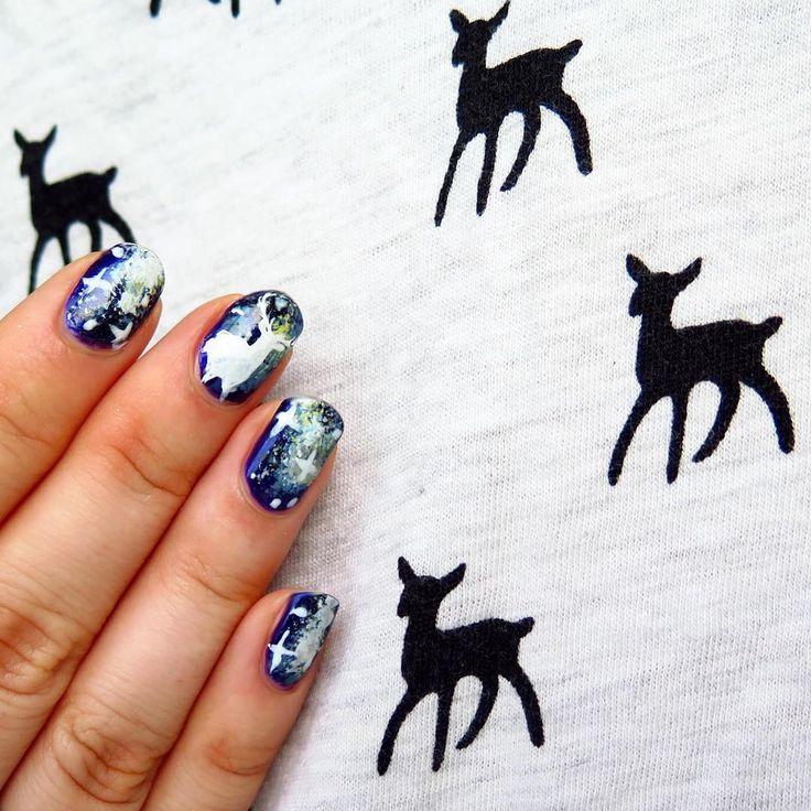 """#supercool #galaxy #hipster #deernails ✨ #galaxynails #deer #deertshirt #hipsternails #nailart #paznokcie #manicure #nails #zdobieniepaznokci #hipsterskie"""