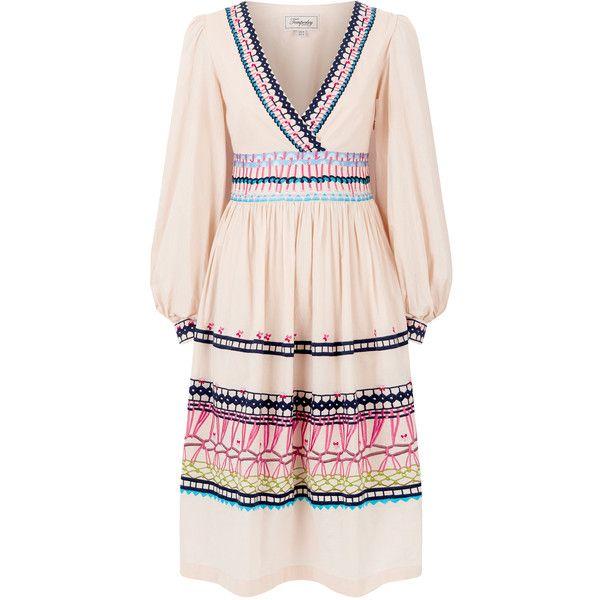 Temperley London V Neck Amity Dress (63.830 RUB) ❤ liked on Polyvore featuring dresses, temperley london, pink v neck dress, pink dress, a line dress and pink embroidered dress