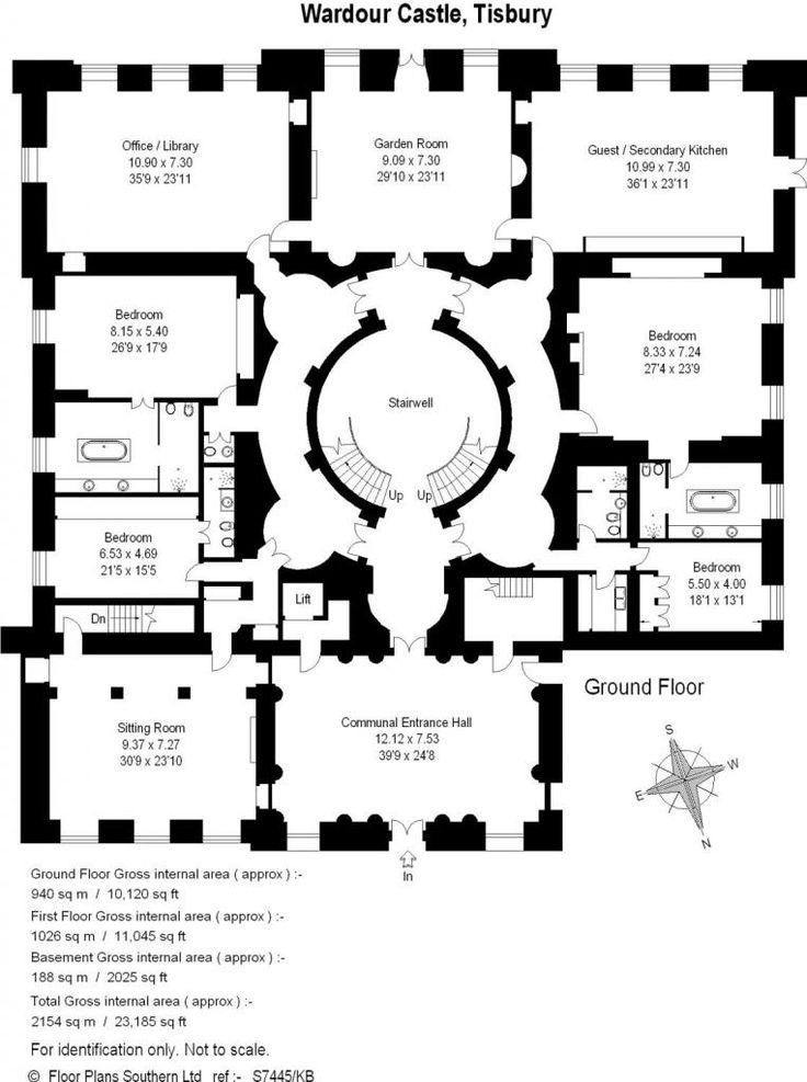24 7 Bedroom Flat For In Wardour Castle Ground Floor Of Centre Block Plan
