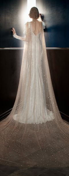 The Stardust Veil. Nude colored veil with crystal star dust scattered all over. #wedding #veil #bride
