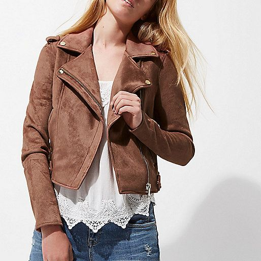 Faux suede fabric Biker collar Popper-fastened epaulettes Front zip pockets Long sleeve Silver tone hardware Asymmetric zip front fastening Our model wears a UK 8 and is 175cm/5'9'' tall