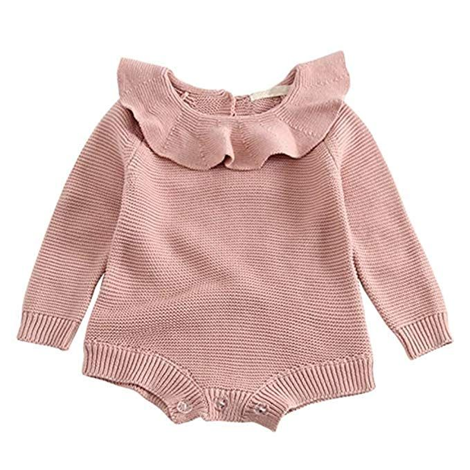 Newborn Baby Girls Ruffle Sleeve Romper Bodysuit Autumn Winter Warm Jumpsuit