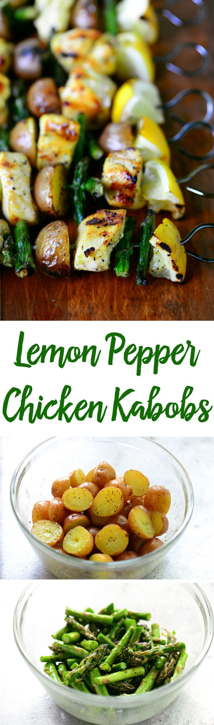 This grilled Lemon Pepper Chicken Kabobs recipe with asparagus and potatoes has juicy, tender chicken that is full of flavor and will be a family favorite!