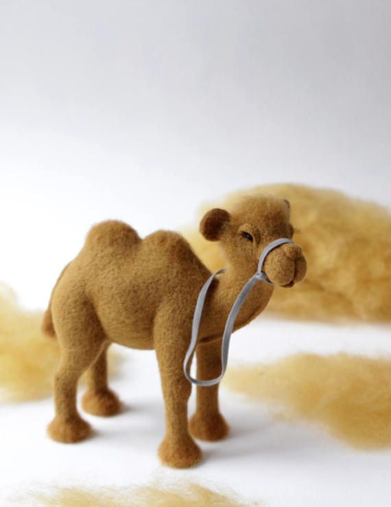 Needle felted camel art doll animal collectible toy camel