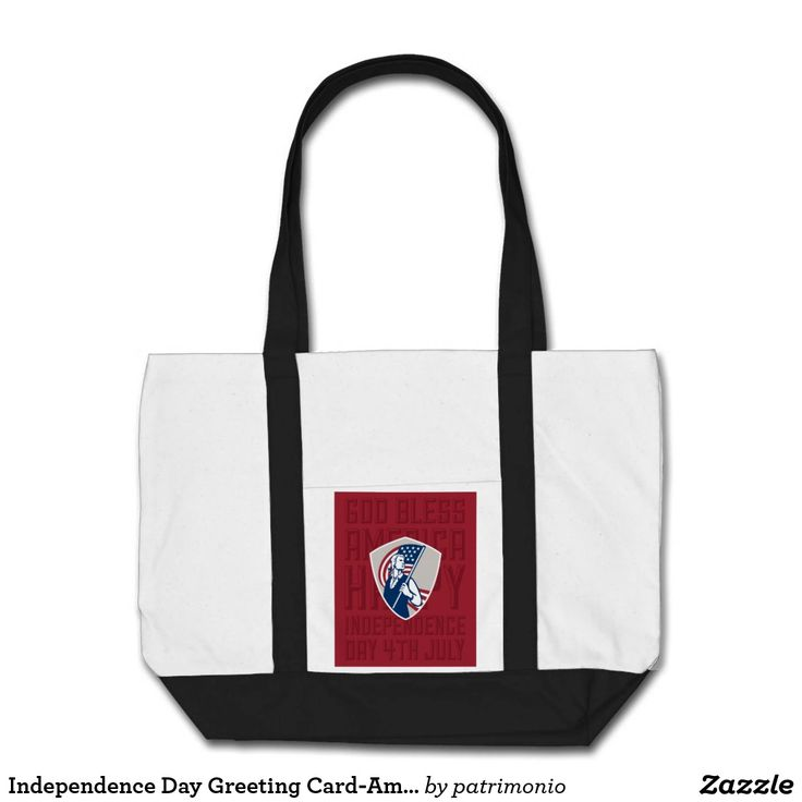 "Independence Day Greeting Card-American Patriot Ho. Tote bag showing an illustration of an American patriot holding a flag set inside a shield on isolated background with the words ""God bless America"" #independenceday #4thofjuly #totebag"