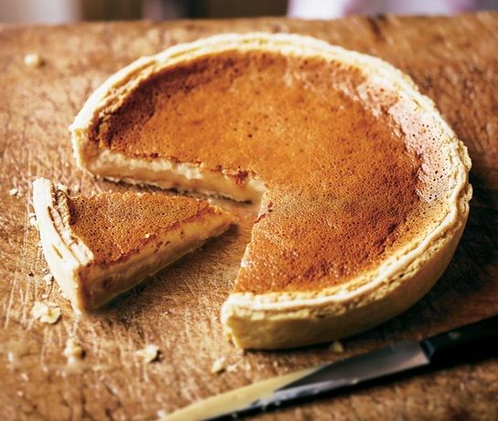 Gypsy tart: pastry cased filled with evaporated milk, condensed milk and brown sugar