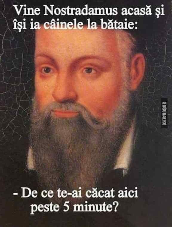 Nostradamus isi bate cainele in avans - Sugubat.ro are cele mai bune imagini amuzante, poze haioase, meme, fail-uri pe care le gasesti pe internet. (Vezi tot)