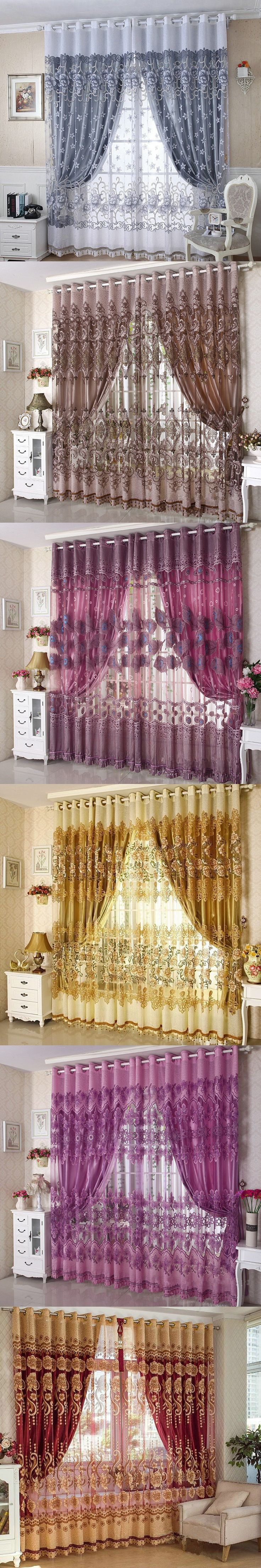 2015 New Arrival Ready Made Luxury Curtains For Living Room/Bedroom Tulle+ Thick Curtains Purple/Brown Free Shipping $107.8