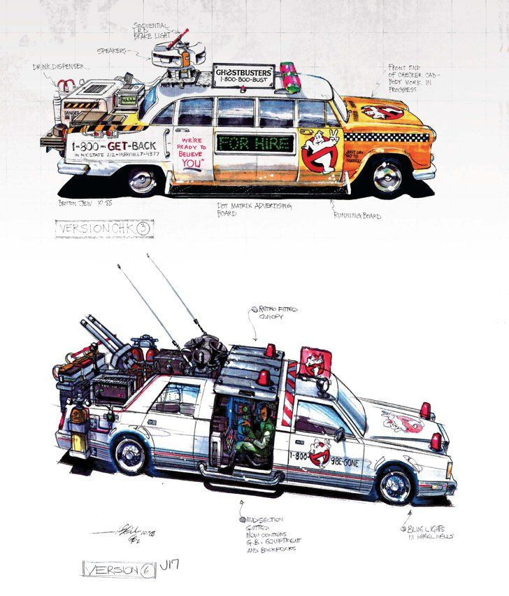 Pin for Later: You'll Never Watch Ghostbusters the Same Way After Seeing These Rare Pictures  Concept illustrations for the revised Ectomobile by Benton Jew (top) and John Bell (bottom).