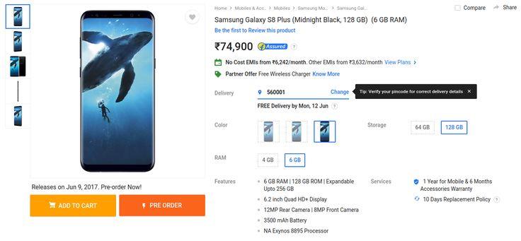 Buy Samsung Galaxy S8 Plus 128GB 6GB RAM on Flipkart, Price Rs 74,900 MRP | FlipHotDeals
