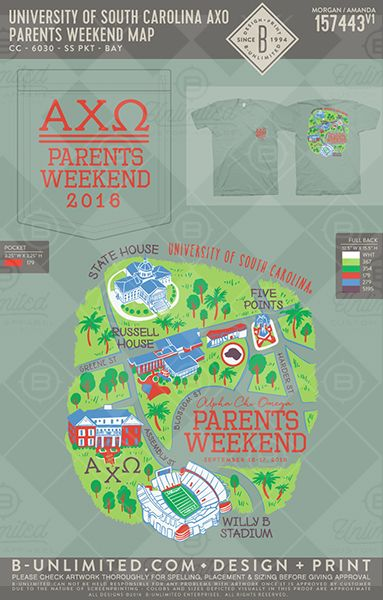 Map out your Parent's Weekend! University of South Carolina AXO #axo #alphachi #alphachiomega #parentsweekend #dadsday #dadsweekend #gameday #schoolpride #college