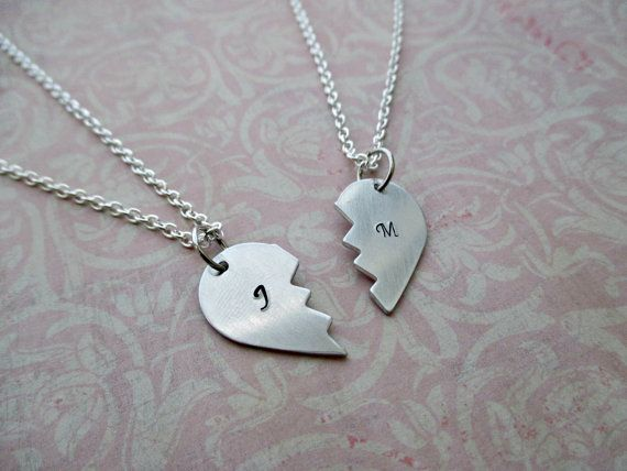 hand stamped two halves of one heart broken heart by TheWindFish, $25.00