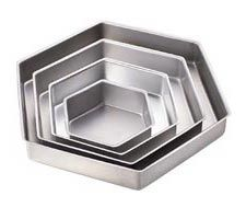 Performance Pans™ Hexagon Pan Set  Set includes 6, 9, 12, 15 in. pans. Quality aluminum holds its shape for years. Each pan is 2 in. deep.  A heating core (stock # 417-6100) is recommended for 10-inch diameter or larger pan.