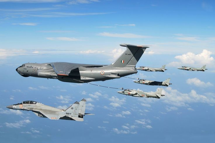 Indian AF Il-78 'Midas' refueling some Sea Harriers and a MiG-29K.