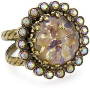 "Sorrelli ""Mirage"" Circular Crystal Adjustable Gold-Tone Ring Sorrelli. $37.50"