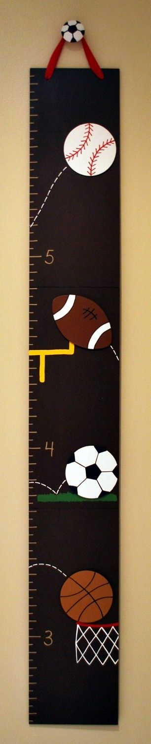 All Star Sports Wooden Growth Chart, handpainted, FREE nail cover and personalization.