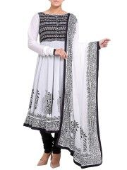 Black & White Cotton Anarkali Salwar Set