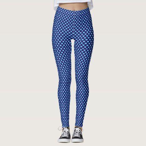 Light and dark blue polka dot hearts leggings #polkadot #pattern #leggings