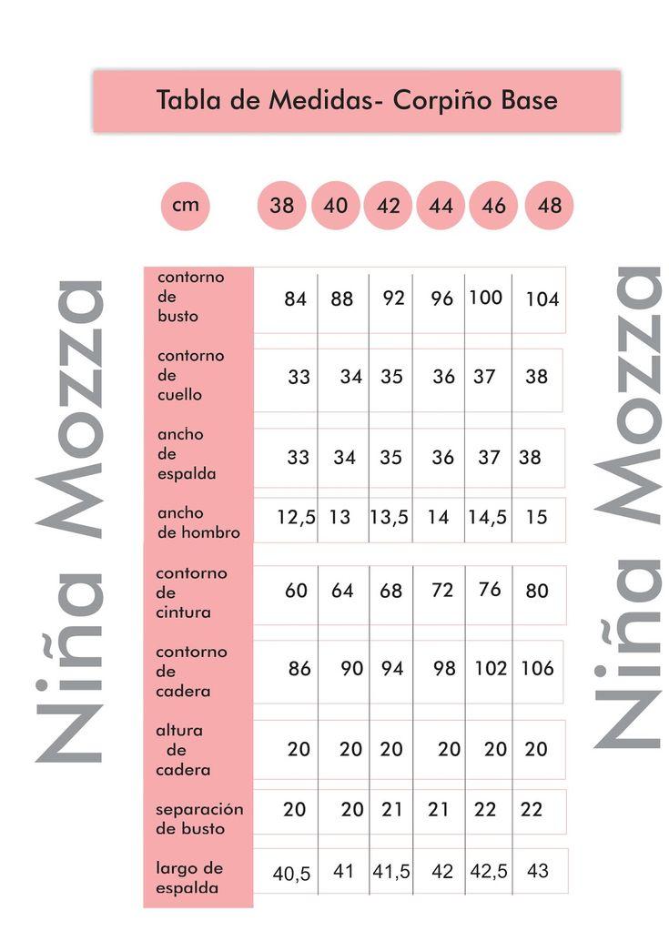 NIÑA MOZZA: TABLA DE MEDIDAS