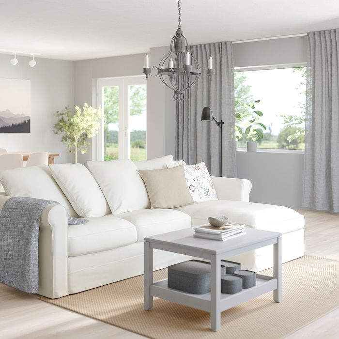 Gronlid Sofa With Chaise Inseros White Ikea In 2020 Deep Seat Cushions Ikea Sofa Deep Seating