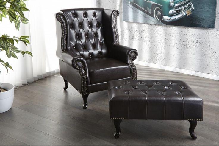 Chesterfiled Dark Stool  #furniture #vintage #vintagecollections #homedecor #interiordesign #housegoals  #irenesworld #home