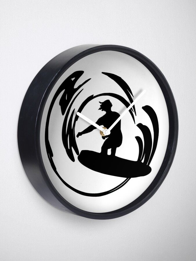Black and White Surfer Dude | Clock (With images) | Surfer ...